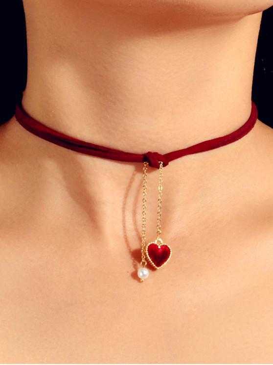 Herz-Perlen-Seil-Halskette - Roter Wein
