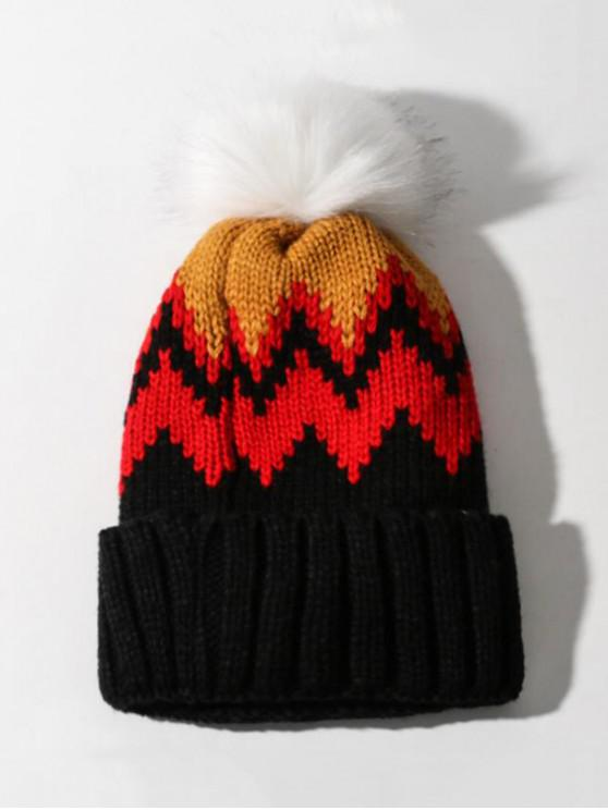 unique Zigzag Pattern Knitted Bubble Hat - YELLOW