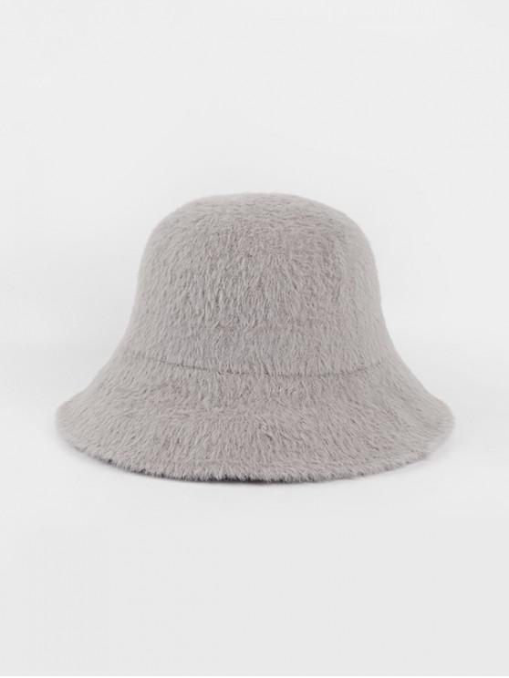 sale Winter Solid Faux Fur Bucket Hat - GRAY