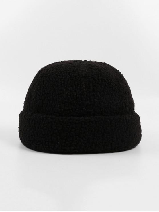 affordable Winter Lambs Wool Skullcap Hat - BLACK