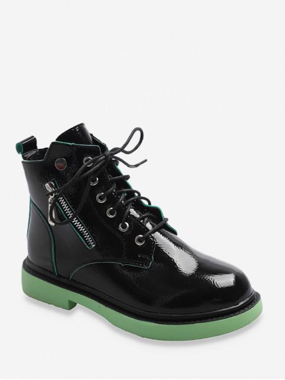 womens Contrast Trim Slant Zip Ankle Boots - GREEN EU 36