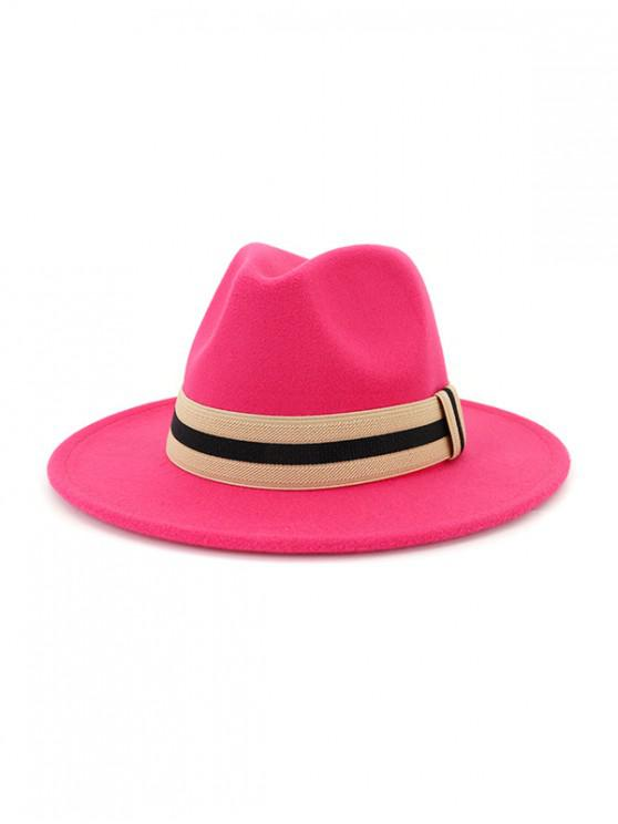 women Winter Striped Flat Brim Jazz Hat - ROSE RED