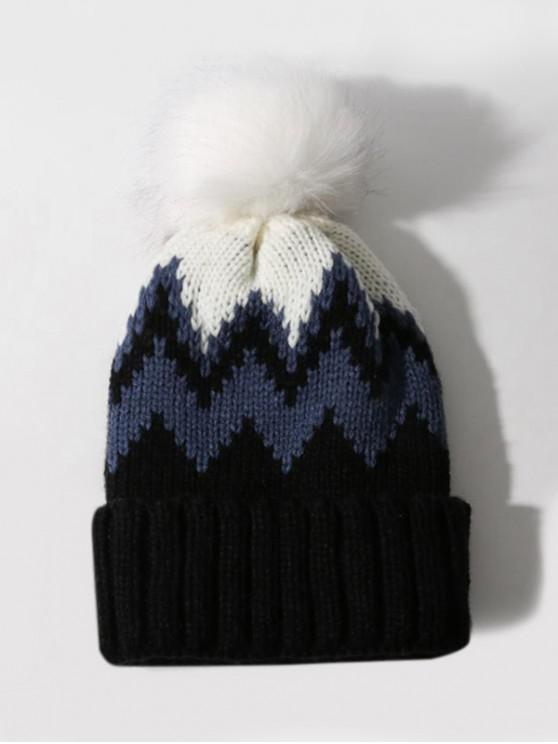 lady Zigzag Pattern Knitted Bubble Hat - BLACK