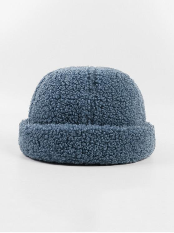 best Winter Lambs Wool Skullcap Hat - BLUE GRAY