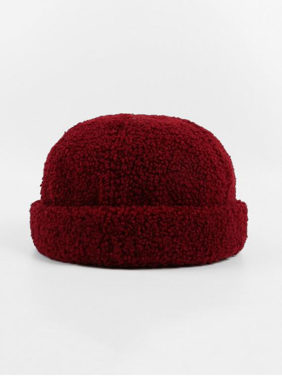 online Winter Lambs Wool Skullcap Hat - RED WINE