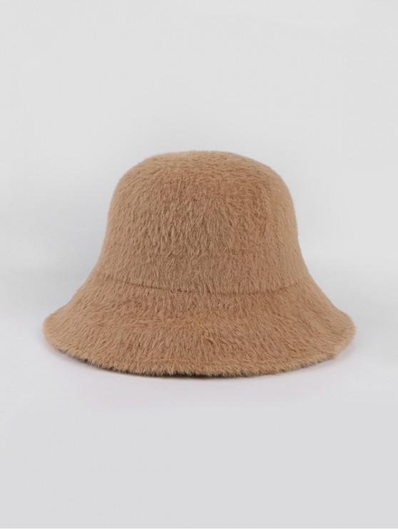 hot Winter Solid Faux Fur Bucket Hat - KHAKI