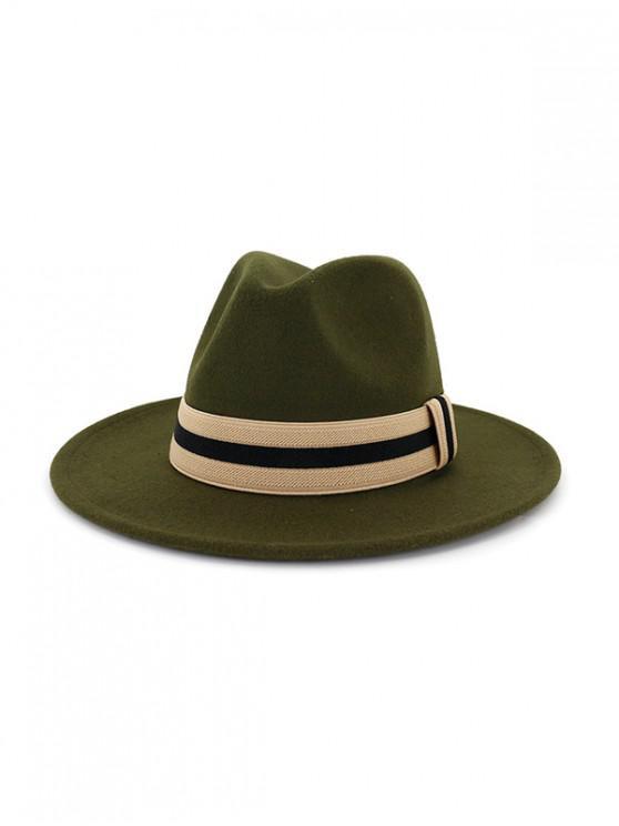 shops Winter Striped Flat Brim Jazz Hat - ARMY GREEN