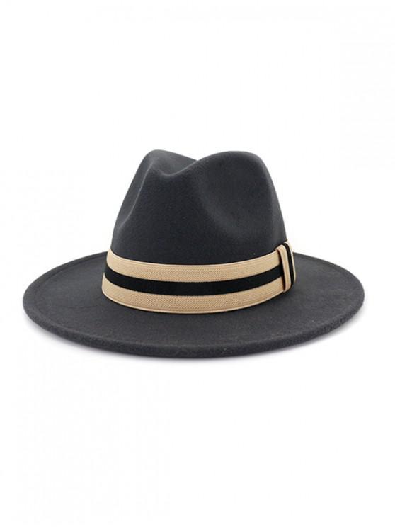 latest Winter Striped Flat Brim Jazz Hat - DARK GRAY