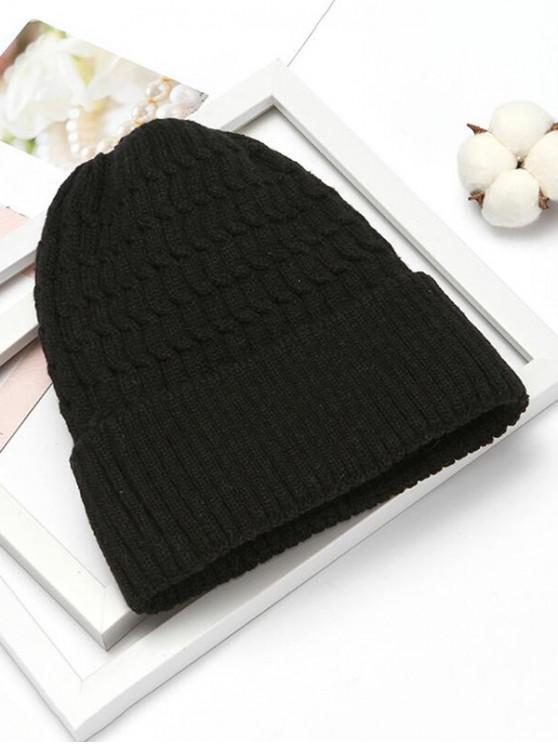 Chapeau d'Hiver Simple Tricoté Motif Tressé - Noir