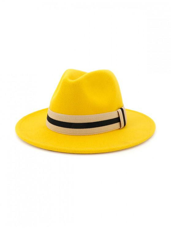 fancy Winter Striped Flat Brim Jazz Hat - YELLOW
