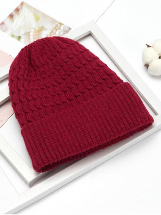 sale Winter Simple Braid Pattern Knitted Hat - RED
