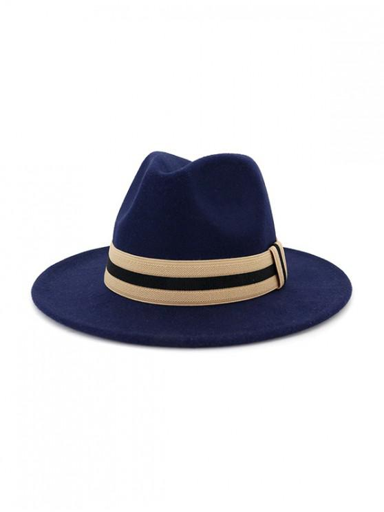 affordable Winter Striped Flat Brim Jazz Hat - CADETBLUE