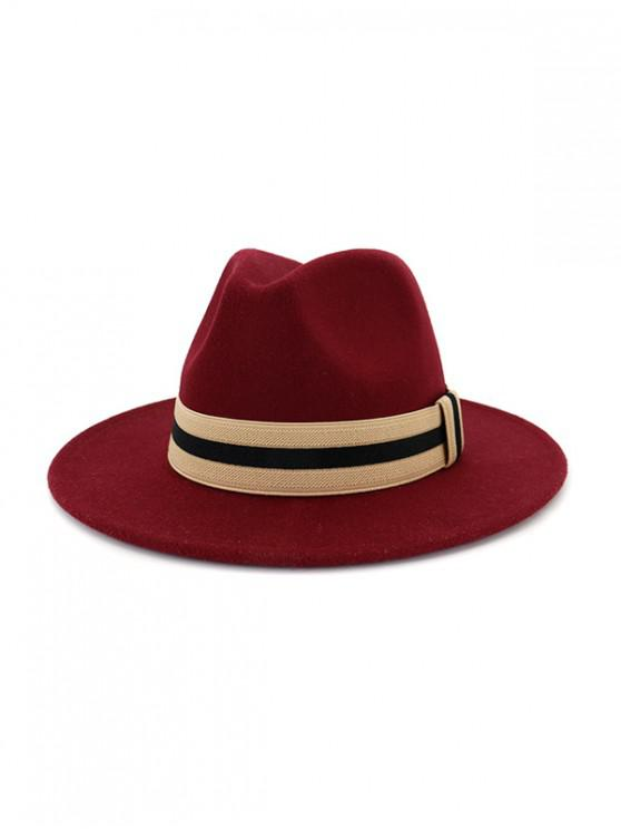 womens Winter Striped Flat Brim Jazz Hat - RED WINE