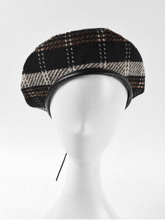 women Winter Plaid Flat Beret Hat - BLACK