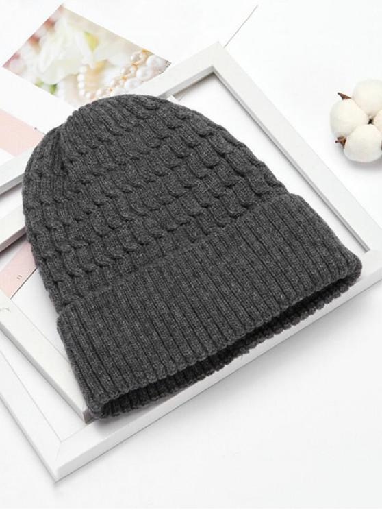 women's Winter Simple Braid Pattern Knitted Hat - GRAY