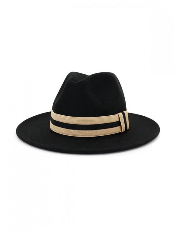ladies Winter Striped Flat Brim Jazz Hat - BLACK