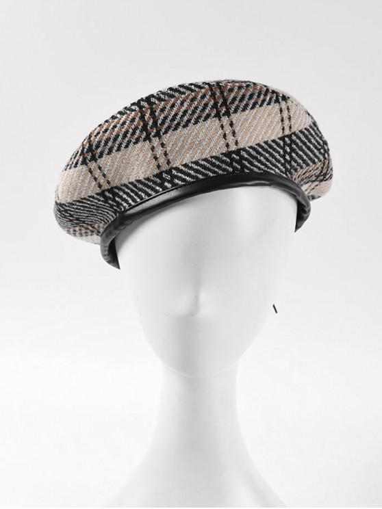 lady Winter Plaid Flat Beret Hat - BEIGE