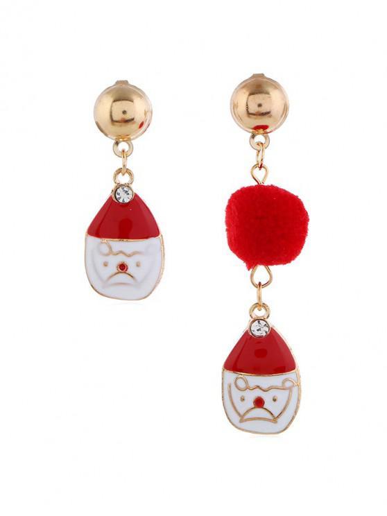 hot Christmas Fuzzy Ball Asymmetric Earrings - RED SANTACLAUS