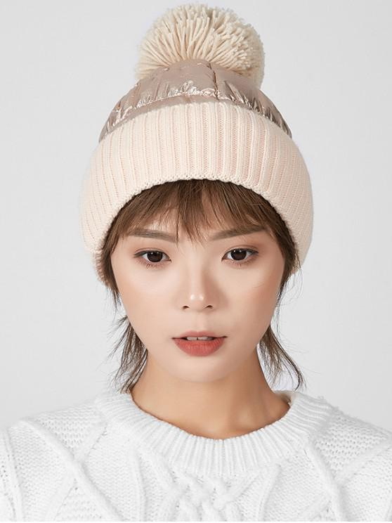 outfits Fuzzy Ball Knitted Winter Hat - BEIGE