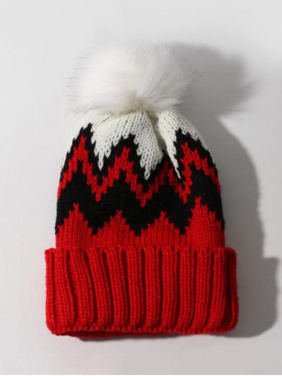 shop Zigzag Pattern Knitted Bubble Hat - RED