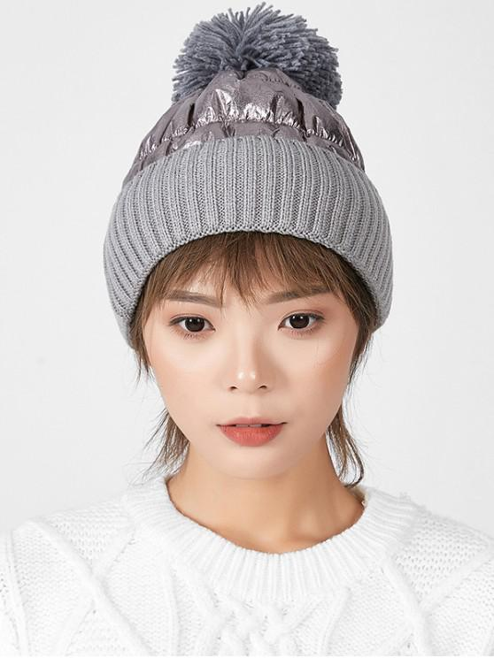 latest Fuzzy Ball Knitted Winter Hat - GRAY