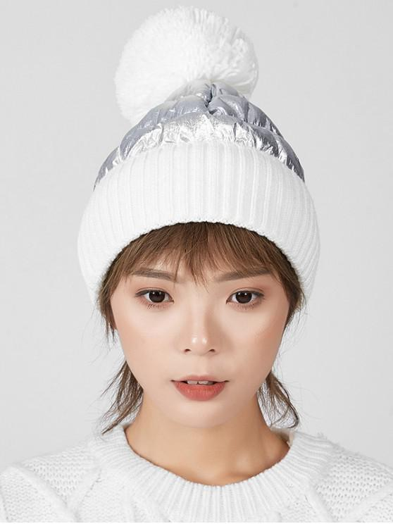 trendy Fuzzy Ball Knitted Winter Hat - WHITE