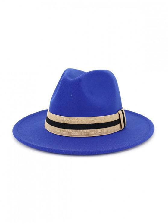 chic Winter Striped Flat Brim Jazz Hat - BLUE