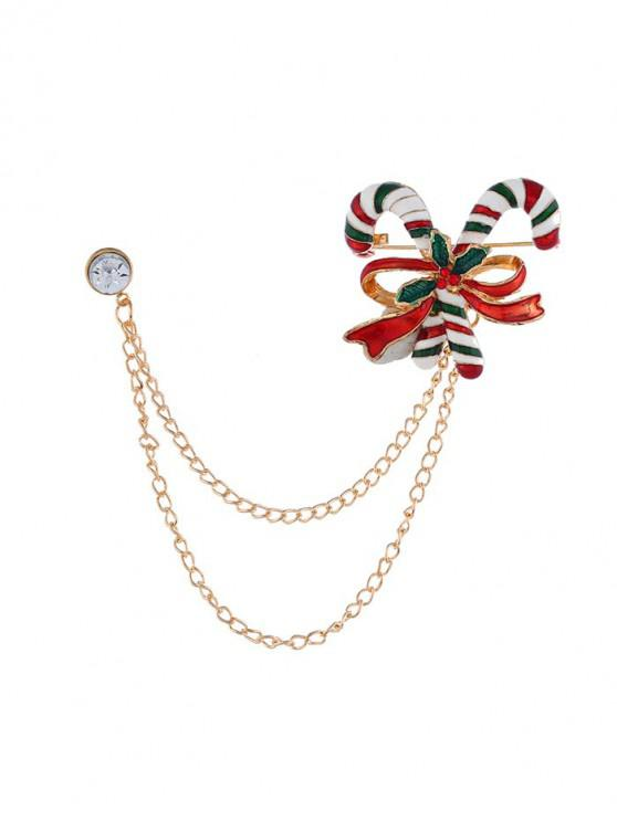 fancy Christmas Bowknot Stick Chain Brooch - GOLD