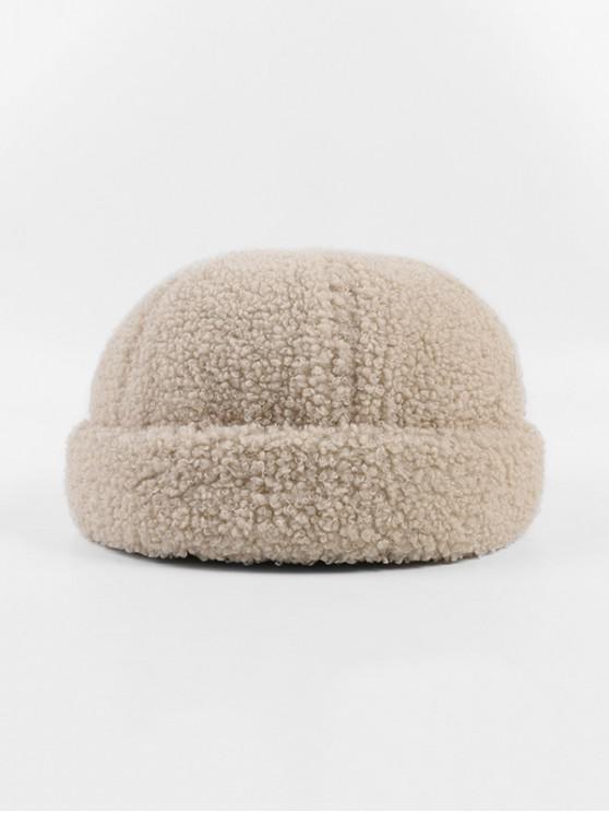 unique Winter Lambs Wool Skullcap Hat - BEIGE