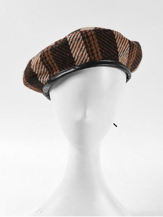 sale Winter Plaid Flat Beret Hat - CAMEL BROWN