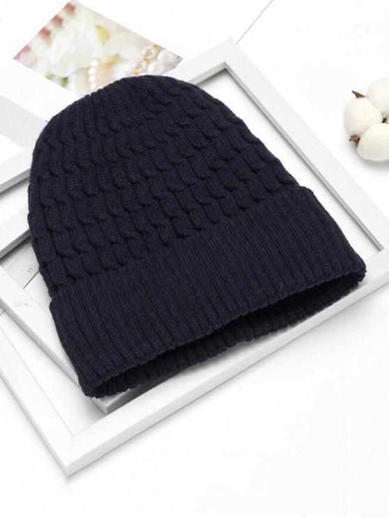 Invierno trenza simple Tejidos patrón de sombrero - Cadetblue