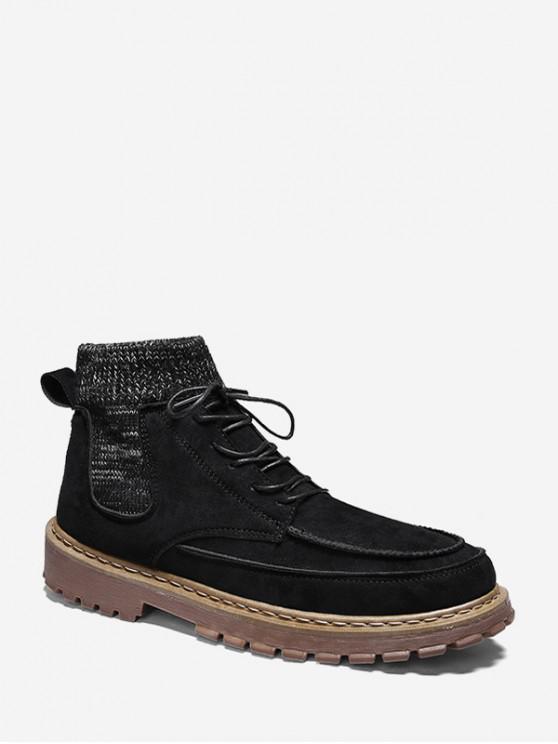 women Retro Round Toe Patch Sock Ankle Boots - BLACK EU 42