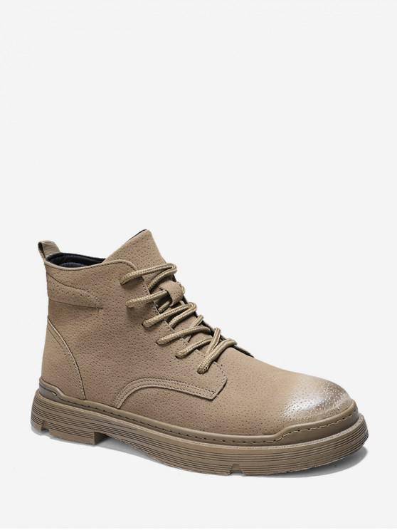 women's Brushed Solid Color Lace Up Cargo Boots - KHAKI EU 40