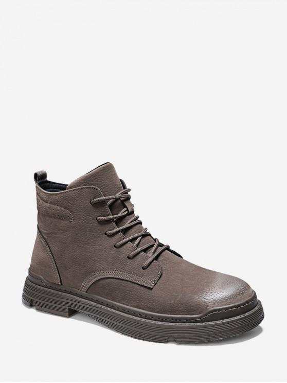 ladies Brushed Solid Color Lace Up Cargo Boots - BROWN EU 42