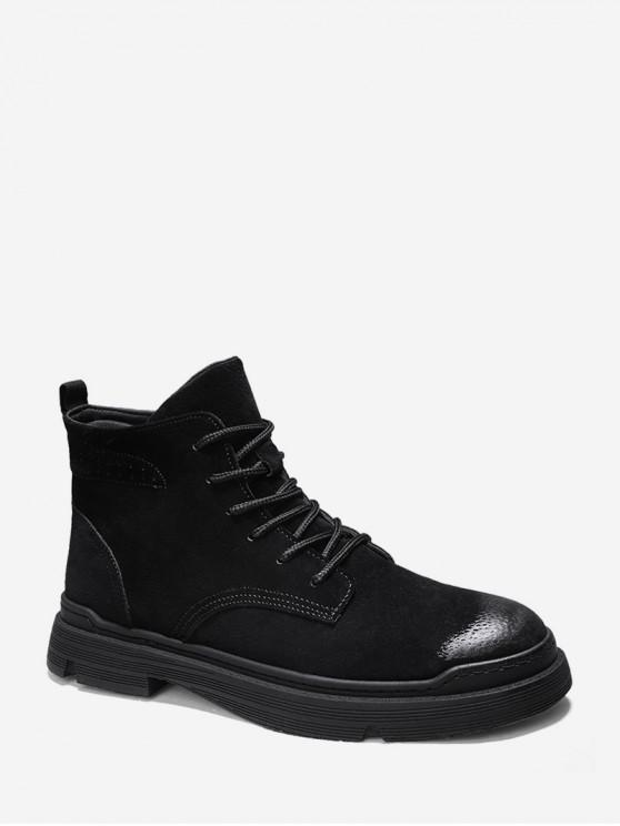 trendy Brushed Solid Color Lace Up Cargo Boots - BLACK EU 43