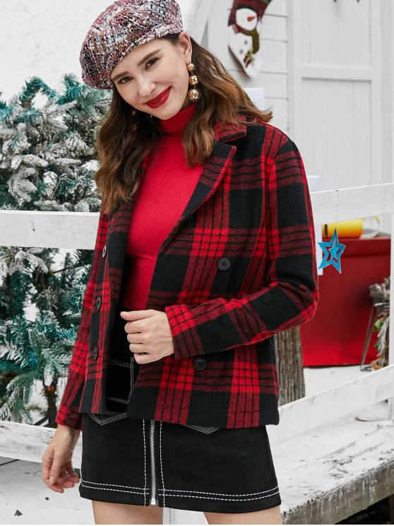 hot ZAFUL Plaid Double Breasted Christmas Wool Blend Coat - RED L