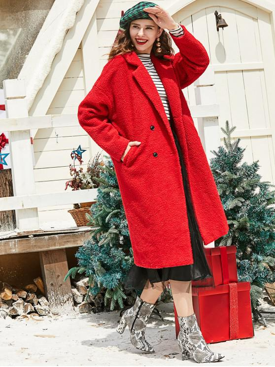 trendy ZAFUL Lapel Christmas Double Breasted Pockets Teddy Coat - CHESTNUT RED M