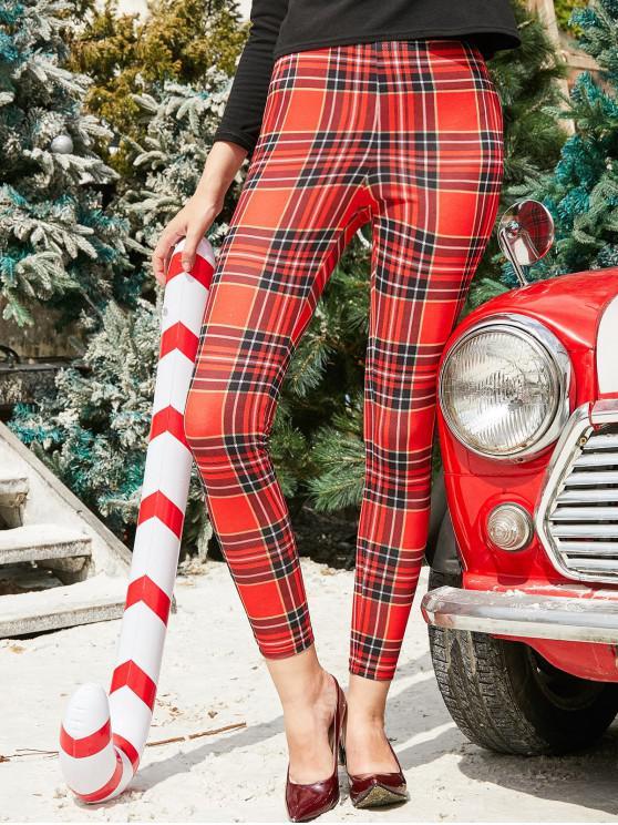 fancy ZAFUL High Waisted Christmas Plaid Leggings - RED L