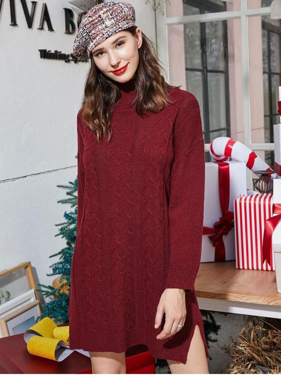 ZAFUL Hohe Kragen Schlitz Weihnachten Strickpullover mit Zopfmuster Kleid - Roter Wein S