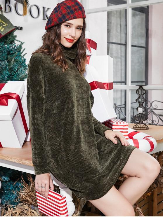sale ZAFUL Turtleneck Chenille Knit Christmas Mini Sweater Dress - DARK FOREST GREEN S