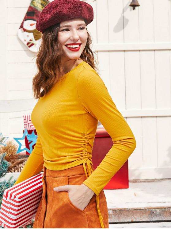fashion ZAFUL Cinched Long Sleeves Solid Tee - BEE YELLOW S