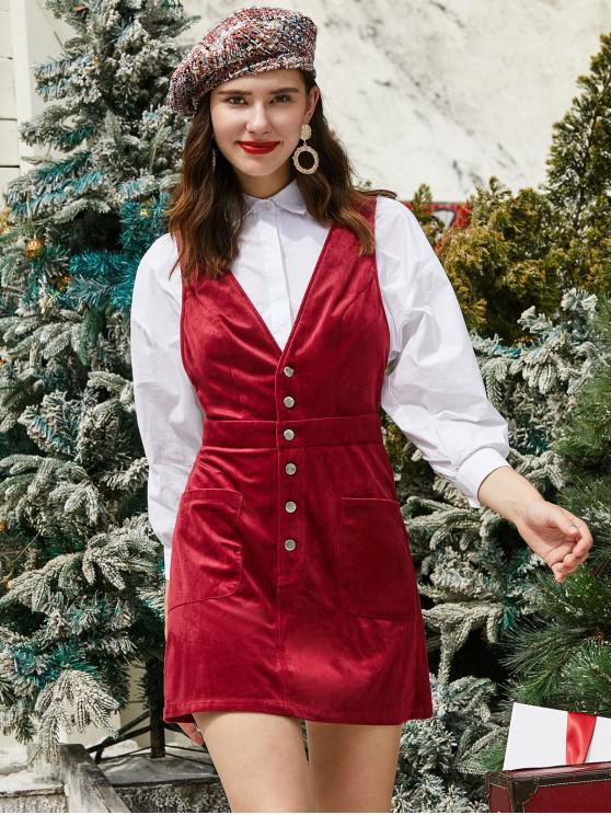 ZAFUL Mezza bottoni Tasche Natale velluto a coste Vestitino - Vino Rosso M