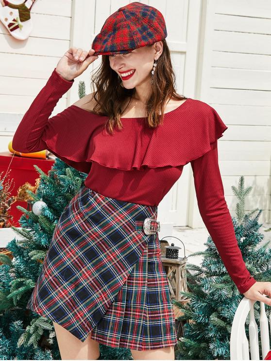 ZAFUL del volante de Navidad collar de inclinación de manga larga T-acanalado - Ladrillo Refractario XL