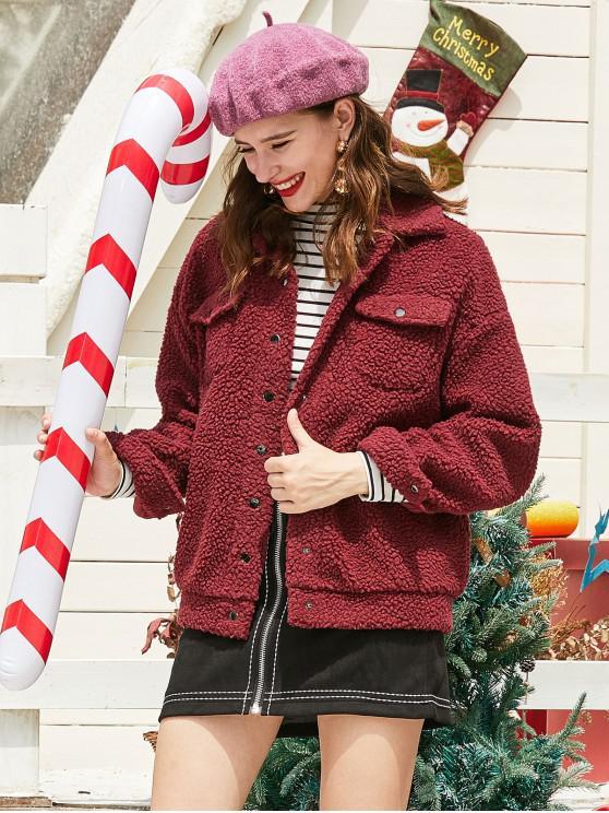 Pulsante ZAFUL Natale finto montone Snap Pocket Teddy Coat - Vino Rosso XL
