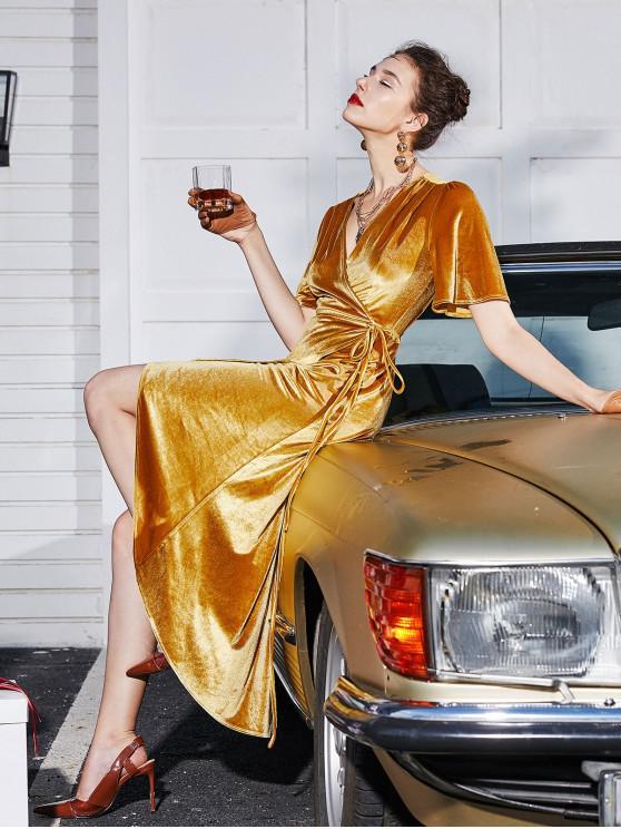affordable ZAFUL Velvet Asymmetrical Midi Wrap Dress - GOLDEN BROWN L
