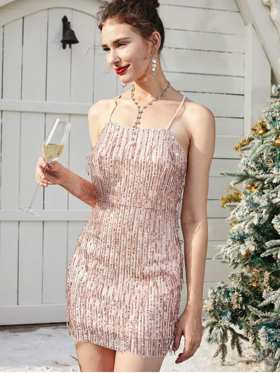 women's ZAFUL Sequined Fringed Bodycon Christmas Party Dress - ROSE M
