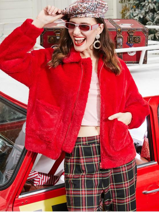 shops ZAFUL Christmas Faux Fur Zip Up Pocket Coat - LAVA RED L