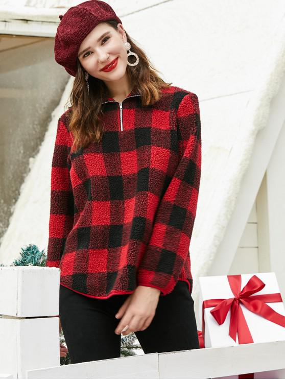 ZAFUL Natale Plaid Quarter Zip Teddy Felpa - Rosso L