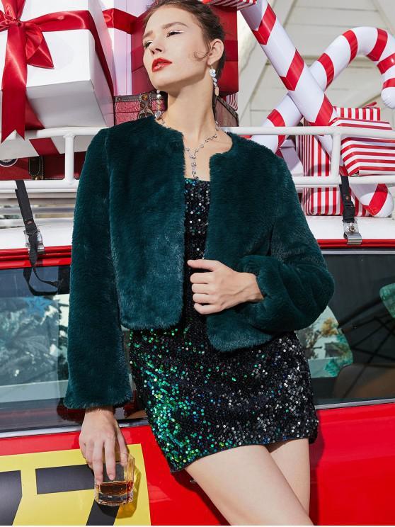 ZAFUL Natale Aperto Spacco Fluffy Faux Fur Coat - Verde Mare Medio  L