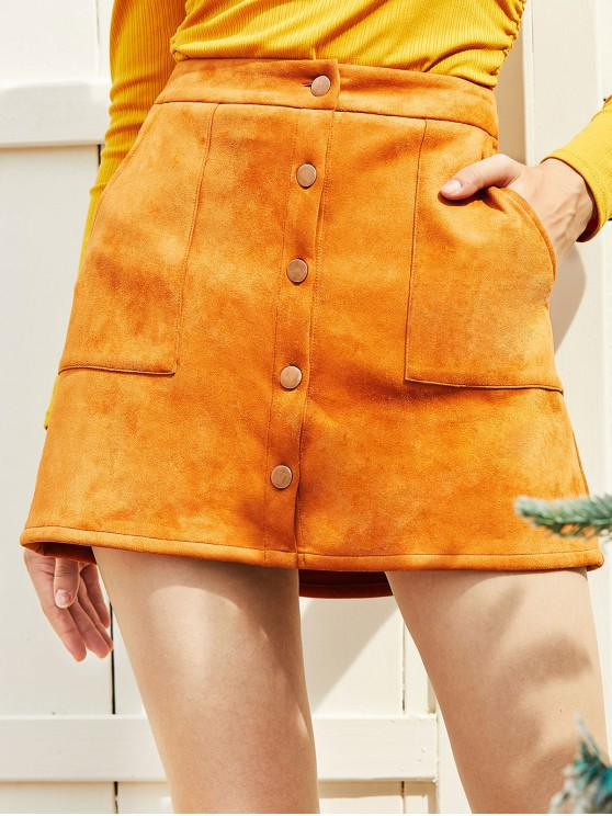 outfits ZAFUL Button Up Pockets Faux Suede Mini Skirt - DARK GOLDENROD S